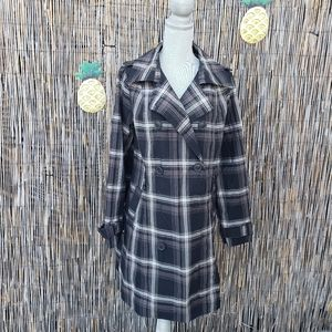 Merona plaid water repellent long pea coat Size XXL black and white